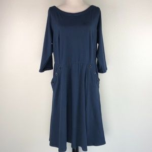 Eshakti Plus Size Navy Long Sleeve Midi Dress